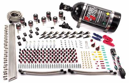 Nitrous Outlet - Nitrous Outlet 00-10434-E85-L-DS-10 -  Dual Stage 8 Cylinder 8 Solenoid Racers Option Direct Port System (E85) (45-55 PSI) (100-400HP) (10Lb Bottle) (90? Nozzles) (.112 Nitrous Solenoids and .177 Fuel Solenoids)