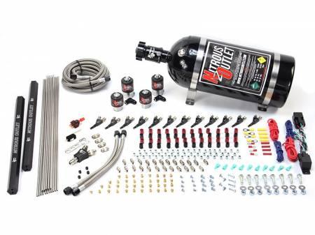 Nitrous Outlet - Nitrous Outlet 00-10399-E85-R-DS-12 -  Dual Stage 6 Cylinder 4 Solenoids Direct Port System With Dual Rails (E85) (45-55 PSI) (75-375HP) (12Lb Bottle) (90? Nozzle's) (.122 Nitrous Solenoids and .177 Fuel Solenoids)