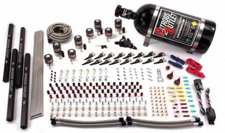 Nitrous Outlet - Nitrous Outlet 00-10474-L-R-DS-10 -  Dual Stage 8 Cylinder 8 Solenoids Direct Port System With Quad Rails  (5-7-10 PSI) (100-400HP) (10Lb Bottle) (90? Nozzle's) (.112 Nitrous Solenoid and .177 Fuel Solenoid)