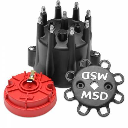 MSD - MSD 84336 - Black Chevy V8 HEI Distributor Cap and Rotor