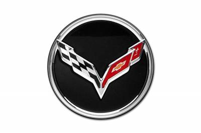 GM Accessories - GM Accessories 19301416 - Wheel Center Cap - Gloss Black with C7 Crossed Flags Logo