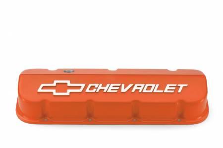 Chevrolet Performance - Chevrolet Performance 25534374 - Aluminum Competition Design Valve Covers for BBC - Orange Powder-Coat