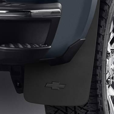 GM Accessories - GM Accessories 22894865 - Rear Flat Splash Guards in Black with Bowtie Logo [2014-19 Silverado]