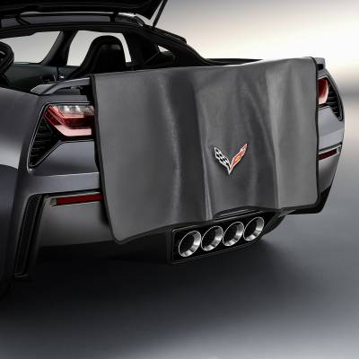 GM Accessories - GM Accessories 23124544 - Rear Bumper Protector in Black with Crossed Flags Logo [C7 Corvette]