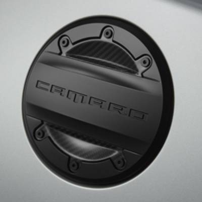 GM Accessories - GM Accessories 23227139 - Fuel Filler Door in Black with Visible Carbon Fiber Inserts [2016+ Camaro]