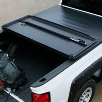 GM Accessories - Genuine GM Parts 84023761 - Short Box Hard Tri-Fold Tonneau Cover with Bowtie Logo [2014-18 Silverado]