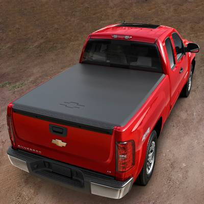 GM Accessories - GM Accessories 23129002 - Short Box Soft Roll-Up Tonneau Cover with Bowtie Logo [2013 Silverado]