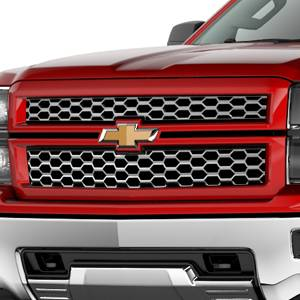 GM Accessories - GM Accessories 23194166 -  Grille in Chrome with Victory Red Surround and Bowtie Logo [2014-15 Silverado]