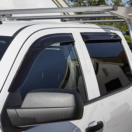 GM Accessories - GM Accessories 19302680 - Crew Cab Tape-On Side Door Window Weather Deflectors in Smoke Black by EGR [2014+ Silverado]