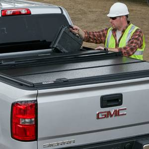 GM Accessories - GM Accessories 19302798 - Short Box Quad-Fold Hard Tonneau Cover with Personal Caddy by Fold-a-Cover in Black [2014-18 Silverado/Sierra]