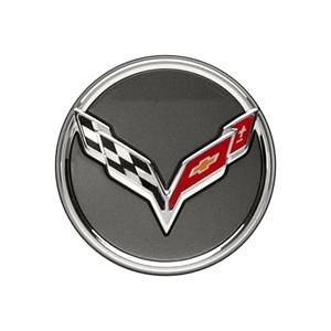 GM Accessories - GM Accessories 20995597 -  Center Cap - Crossed-Flag Logo, Argent Background, Service Component [C7 Corvette]