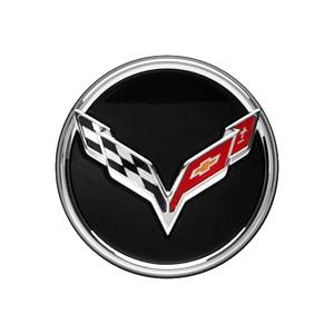 GM Accessories - GM Accessories 22782982 - Center Cap - Crossed-Flag Logo, Black Background, Service Component [C7 Corvette]