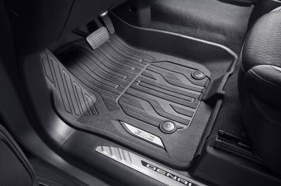 GM Accessories - GM Accessories 84333605 - Front-Row Premium All-Weather Floor Liners in Atmosphere with GMC Logo For Vehicles with Center Console [2019+ Sierra]