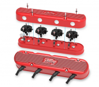 Holley - Holley 241-174 - Vintage Look 2-Piece Aluminum LS Valve Covers Gloss Red Finish - Image 2