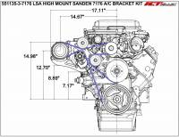 ICT Billet - ICT Billet 551135-3-7176 - LSA Supercharger High Mount A/C Sanden 7176 Compressor Bracket Kit CTS-V ZL1 - Image 4